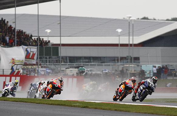 The start of the 2011 British MotoGP