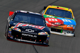 Kevin Harvick races Kyle Busch at Kansas