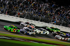 Danica Patrick leads the Daytona NASCAR Nationwide race