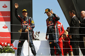 Sebastian Vettel and Mark Webber on the Silverstone podium