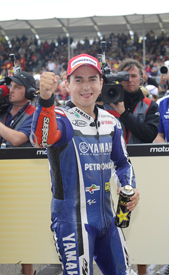Jorge Lorenzo celebrates second place at the Sachsenring