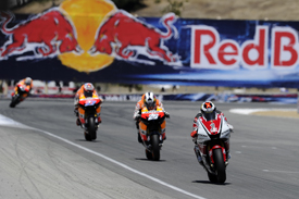 Jorge Lorenzo  leads the Hondas at Laguna Seca