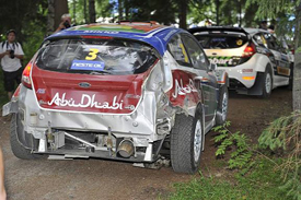Mikko Hirvonen's damaged Ford, Finland 2011
