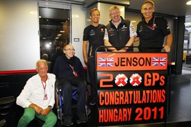 Jenson Button celebrates 200 grands prix
