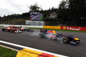 Sebastian Vettel leads at Spa