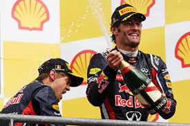 Mark Webber on the Spa podium
