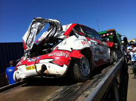 Evgeny Novikov's damaged Stobart Ford, Australia 2011