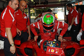 Sergio Perez tests for Ferrari