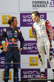 Jean-Eric Vergne and Robert Wickens on the Catalunya podium