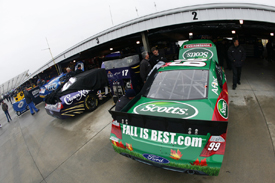 Carl Edwards and Matt Kenseth's cars amid the Martinsville rain-off