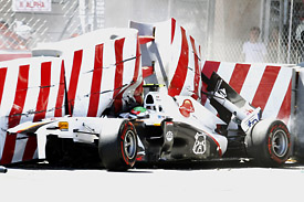 Sergio Perez crash, Monaco Grand Prix 2011, TecPro Barrier