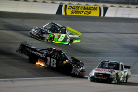 Kyle Busch clashes with Ron Hornaday in the Texas Truck race