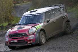 Kris Meeke tests the Mini ahead of this week's Rally GB