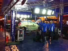 Mikko Hirvonen's Ford in Rally GB service