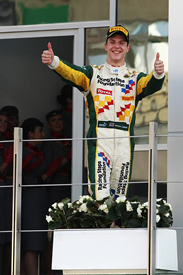 James Calado on the Abu Dhabi podium