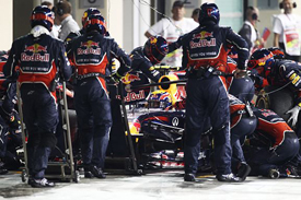 Mark Webber pits for Red Bull in Abu Dhabi