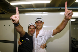Jenson Button Rubens Barrichello Brawn 2009 Brazilian Grand Prix