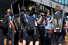 Williams crew with TV cameras (Or is it Sky staff?)