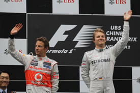 Jenson Button and Nico Rosberg on the Shanghai podium