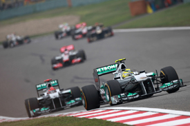 Nico Rosberg leads in China