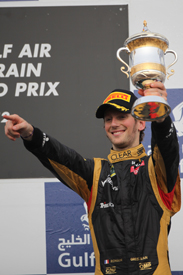 Romain Grosjean on the Bahrain podium