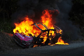 Ramona Karlsson's Mitsubishi on fire