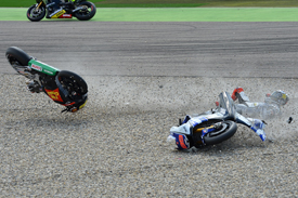 Alvaro Bautista and Jorge Lorenzo collide at Assen