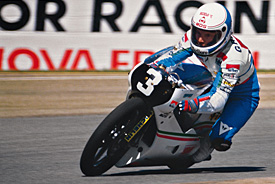 Fausto Gresini in action in 1985