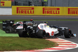 Sergio Perez and Pastor Maldonado collide at Silverstone