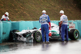 Michael Schumacher crashes in Hungarian GP practice