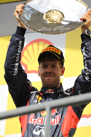 Sebastian Vettel on the Spa podium