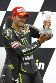 Cal Crutchlow on the Brno podium