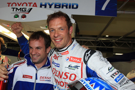 Alex Wurz and Nicolas Lapierre celebrate Interlagos pole