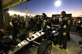 Penske repairs Will Power's car at Fontana