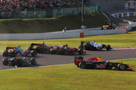 Romain Grosjean and Mark Webber collision aftermath, Suzuka 2012