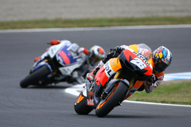 Dani Pedrosa leads Jorge Lorenzo at Motegi