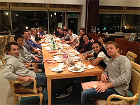F1 drivers having dinner
