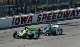 Simona de Silvestro, HVM, and Tony Kanaan, KV, Iowa IndyCar 2012