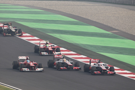 Fernando Alonso, Ferrari F2012, Lewis Hamilton, McLaren MP4-27, battle at the start, 2012 Indian Grand Prix, Race