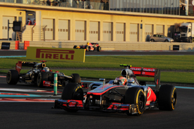 Lewis Hamilton leads in Abu Dhabi
