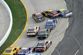Jeff Gordon, Jimmie Johnson and Clint Bowyer collide at Martinsville, 2012