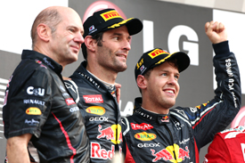 Adrian Newey Mark Webber Sebastian Vettel Red Bull 2012 Korean GP