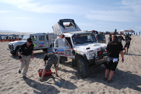 Running repairs in the desert on stage one