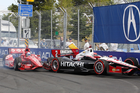 Ryan Briscoe and Dario Franchitti collide in Toronto
