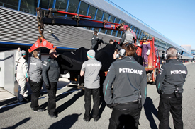 Nico Rosberg's Mercedes breaks down, Jerez F1 testing February 2013