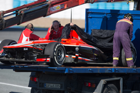 Max Chilton's damaged Marussia, Jerez F1 testing February 2013