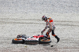 Marc Marquez crashes at Sepang