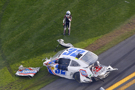 Kyle Larson's car after Daytona NASCAR Nationwide crash
