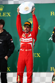 Fernando Alonso on the Melbourne podium