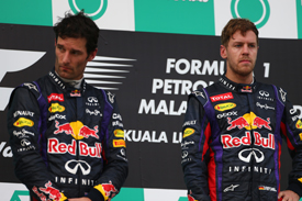 Mark Webber and Sebastian Vettel on Sepang podium
